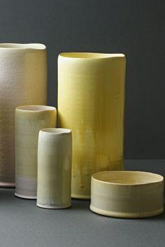 Designer sammlung aus Keramik gefäß gelb
