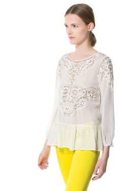 ZARA - SALE - EMBROIDERED TOP