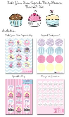 Bake Your Own Cupcake Party Favor Printables! Super cute party favor!