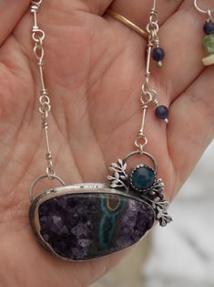 Sterling silver Polished Druzy Amethyst Stalactite Eyes Crystal gemstone Apatite gemstone Amethyst beads handcrafted metalwork artisan sterling chain handmade metalsmith silversmith natural raw statement jewelry pendant necklace dangle Amethyst gemstone beads one of a kind OOAK primative purple blue Mother of Pearl button bead River shell bead mystic gypsy boho bohemian healing gem chakra