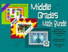 File Folder Games.  Graphics are middle schooler approved!  On sale, get 3 games for $4.00.  Comes with two integer games to play with any of the folder games.  http://the-tutor-house.com