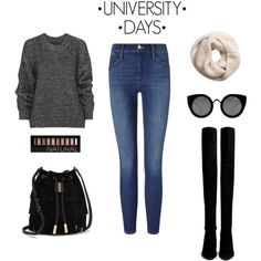 University days by savanah-herbert on Polyvore featuring polyvore, fashion, style, Belstaff, Frame Denim, Stuart Weitzman, Vince Camuto, Quay, H&M and Forever 21