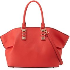 Neiman Marcus Sophia Faux-Leather Satchel Bag ($71) ❤ liked on Polyvore featuring bags, handbags, coral, red satchel, red handbags, neiman marcus handbags, vegan leather purse and vegan leather handbags