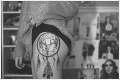 Cultural Dreamcatcher Tattoos Ideas in Modern Culture: Dreamcatcher Tattoo Designs On Thigh ~ Tattoo Ideas Inspiration Piercings, Piercing Tattoo, Atrapasueños Tattoo, Tattoo Thigh, Tattoo Quotes, Sick Tattoo, Deer Tattoo, Trendy Tattoos, Popular Tattoos