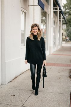 black tunic sweater, leather leggings, and black booties Source by ninameredith booties outfit Leggings Outfit Winter, Legging Outfits, Leather Leggings Outfit, Spanx Faux Leather Leggings, Leather Pants, Leather Skirts, Black Pants Outfit Dressy, Black Booties Outfit, Maroon Leggings
