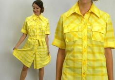 60s Yellow Plaid Scooter Dress  Summer by GlennasVintageShop