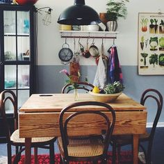 Frida Schuler home via Instagram, interior, dining room, vintage, country, kitchen, blue, veg poster