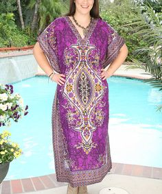 Another great find on #zulily! Lilac Purple Floral Cape-Sleeve Maxi Dress - Plus by Ananda's Collection #zulilyfinds
