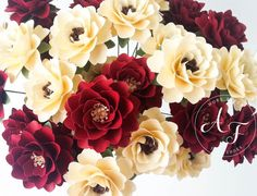 Paper Flowers - Holiday Flowers - Red and Ivory -   Wedding Bouquet  Handmade  by Anna Fearer