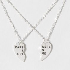Cute Best Friends Day gift: Partners In Crime BFF Necklaces