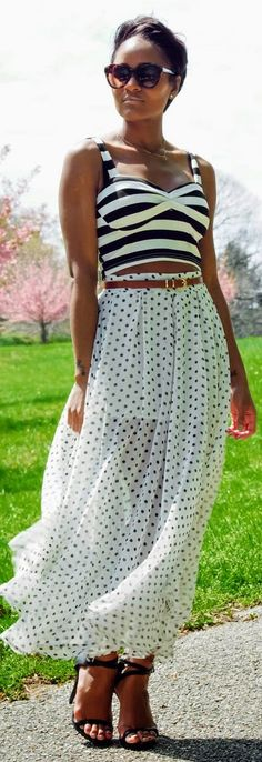 Striped Bralette + Polka Dot Maxi Skirt