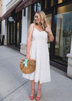 The Fancy Things. White Eyelet Midi Dress+red ankle strap heeled sandals+wood basket-bag+blue gingham neck scarf+blue tassel earrings+gold jewelry. Summer Dressy Casual Outfit 2017