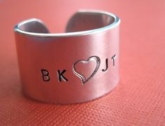 Personalized Handstamped Ring  1/2 inch Aluminum by TesoroJewelry, $15.00
