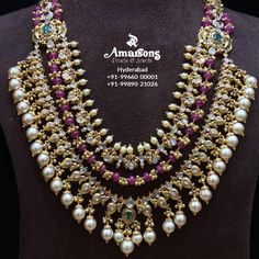 Check out this lovely uncut polki gold haram necklace by the brand Amarsons Jewellery. Gold Chain Design, Gold Jewellery Design, Bead Jewellery, Beaded Jewelry, Mughal Jewelry, India Jewelry, Indian Wedding Jewelry, Bridal Jewelry, Ruby Jewelry
