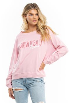 The Chateau Beau Sommers Sweatshirt is a vintage-inspired sweatshirt with raglan sleeves, crew neck, and banded hems. In Wildfox signature soft plush cotton sherpa. Cotton Model wears size S. New Shop, Top Sales, Wildfox, Dresses For Sale, Vintage Inspired, Crew Neck, Graphic Sweatshirt, Sweatshirts, Sleeves