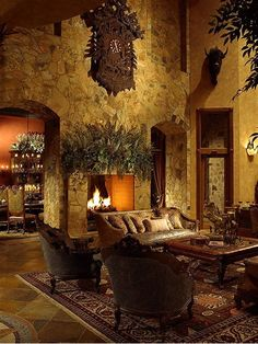 Tuscan design – Mediterranean Home Decor Tuscan Living Rooms, Living Room Decor, Tuscan Bedroom, Dining Rooms, Style Toscan, Tuscany Decor, Table Cafe, World Decor, Tuscan Decorating