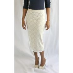 Lace Midi Pencil Skirt This pencil skirt has an elastic waistband and a cream lace overlay on top of a tan.  It has some stretch and no splits so will fit the missionary skirt length guidelines. Runs a bit small, please consult size chart below.   $19.95