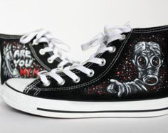 ecc84512d995 The Bad Wolf Doctor Who converse shoes Blue UNISEX by LRsWorkshop The Empty  Child