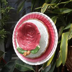 vintage pink Glass Plate Flower repurpose shabby chic