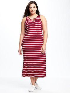 Plus-Size Lace-Up Jersey Maxi Dress