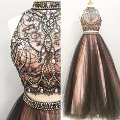 Two Pieces Rhinestone Black Tulle Gorgeous 2017 Long Prom Dresses, PD0251 #Платья #Платье