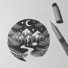 my style v roce 2019 drawings, tattoos a ink art. Tattoo Stencils, Stencil Art, Tattoo Fonts, Tattoo Quotes, Rundes Tattoo, Bild Tattoos, Mountain Tattoo, Pen Art, Doodle Art