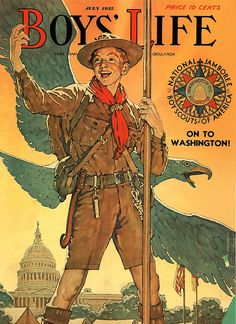 "Boys' Life - 'On To Washington'- [Norman Rockwell] ""Healthy moral values are the solution for happier kids & and a greater nation. Norman Rockwell Prints, Norman Rockwell Paintings, Boys Life Magazine, Creepy Comics, Scouts Of America, Vintage Boys, Eagle Scout, Vintage Magazines, Vintage Comics"