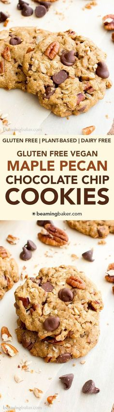 Maple Pecan Chocolate Chip Cookies (V, GF, DF): an easy recipe for deliciously soft and chewy oat flour chocolate chip cookies bursting with maple and pecans. #Vegan #GlutenFree #DairyFree #OatFlour | BeamingBaker.com