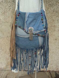 Handmade Denim Fringe Bag Hippie Boho Western Gypsy Beaded Cross Body Bag tmyers #Handmade #MessengerCrossBody