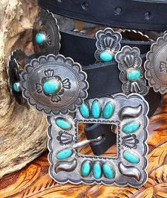 Exquisite Don Lucas Sterling & Turquoise Concho Belt!