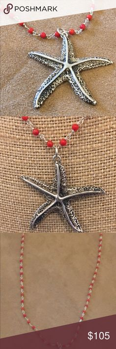 "Sterling Starfish Necklace Vintage Design Coral I collect vintage and antique jewelry pieces to reproduce and share with others.  This gorgeous starfish is sterling silver with a sterling wire wrapped and coral chain (approx. 22"").  This special piece is produced in a limited amount.  Get yours now! Lulu LaRock Jewelry Necklaces"