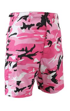The BDU Military Pink Camo Shorts are made of poly cotton twill blend with a pull tab adjustable waist with a six pocket design, two front slash pockets with two pleated bellows style pockets, two rear flap pockets and a button fly. These pink camo military shorts are an ideal choice for casual, street fashion wear and ideal for pink team wear.