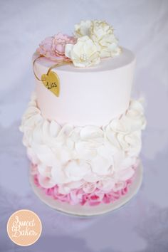 Birthday Cakes - Pink Ombre Ruffle Cake for a 21st!   https://www.facebook.com/sweetbakess