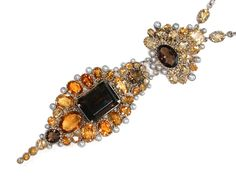 Arts & Crafts Pendant Of Smoky Quartz, Citrine, Half Pearls And Silver   c. Late 19th Century-Earlly 20th Century