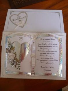Handcrafted by Helen: Silver Wedding Anniversary Card