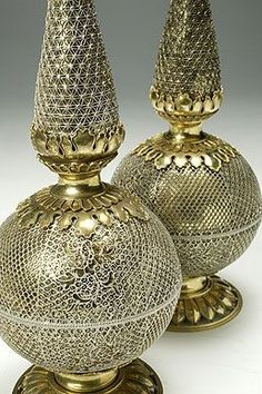 Set of two flasks for rose water 1740-1750's.