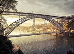 Bridge designed by Gustave Eiffel, Porto Porto City, Gustave Eiffel, Palace Garden, Bridge Design, Douro, Spain And Portugal, Beautiful Buildings, Sydney Harbour Bridge, Monuments