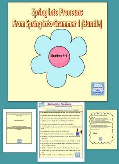 This is a colorful spring worksheet to reinforce pronouns for Grades 4 ...