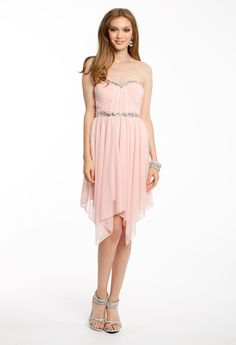 STRAPLESS HANKY DRESS #shortdress #homecoming #homecomingdress #chic #fashion #partydress #style #camillelavie #pink #strapless
