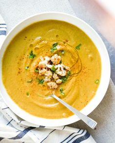 Looking to start 'souping' with healthy soup recipes? This cauliflower soup is vegan, gluten-free, and Whole 30 friendly, full of nourishing vegetables and Moroccan spices.