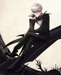 jack frost dressed as jack skellington http://wlfgrrl.tumblr.com/post/97629379656/jack-frost-as-jack-skellington-by-hiphip-hurray