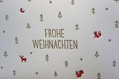 Weihnachten - Weihnachtswald - letterpress Weihnachtskarte - ein Designerstück von letterdance bei DaWanda