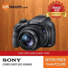 Sony Cyber-shot DSC-HX400V Camera at Lowest Rate from Infibeam's MagicBox !   Assuring Lowest Price in Magic Box Deals!    HURRY ! OFFER ENDS TODAY MIDNIGHT !  #MagicBox #Deals #DealOfTheDay #Offer #Discount #LowestRates #Sony #Cybershot #Camera #Photography #CompactCameras
