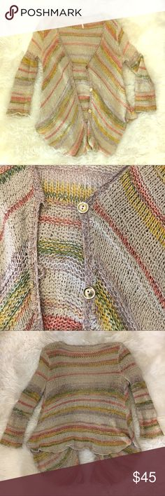 FP vintage style sweater throw Loose knit multi color yarn cardigan, drapes longer in front, gold buttons, 3/4 length sleeves. Slight snag on one back sleeve as pictured. Good condition Free People Sweaters Cardigans