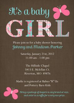 Butterfly baby shower invitation, it's a girl baby shower, digital, printable file (any colors). via Etsy.