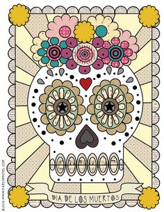 Dia de los muertos colouring sheet from Karen Michel on Squirrelly Minds