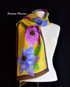 Hand painted silk scarf purple and blue by FantasticPheasant