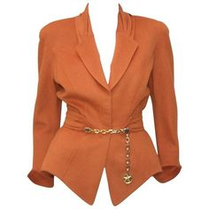 Preowned 1980's Thierry Mugler Pumpkin Wool Wasp Waist Jacket With... ($350) ❤ liked on Polyvore featuring outerwear, jackets, blazers, multiple, blazer jacket, woolen jacket, heavy wool jacket, brown wool jacket and wool blazer