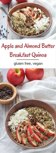 Apple and Almond Butter Breakfast Quinoa -  a high protein and super comforting breakfast.  {gluten free, vegan, dairy free} #recipe