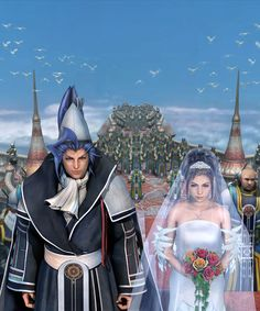 View an image titled 'CG Artwork, Seymour & Yuna Wedding Art' in our Final Fantasy X art gallery featuring official character designs, concept art, and promo pictures. Yuna Final Fantasy, Final Fantasy Characters, Final Fantasy Collection, Fantasy Series, Yuna Cosplay, Anime Wedding, Wedding Art, Wedding Stuff, Finals